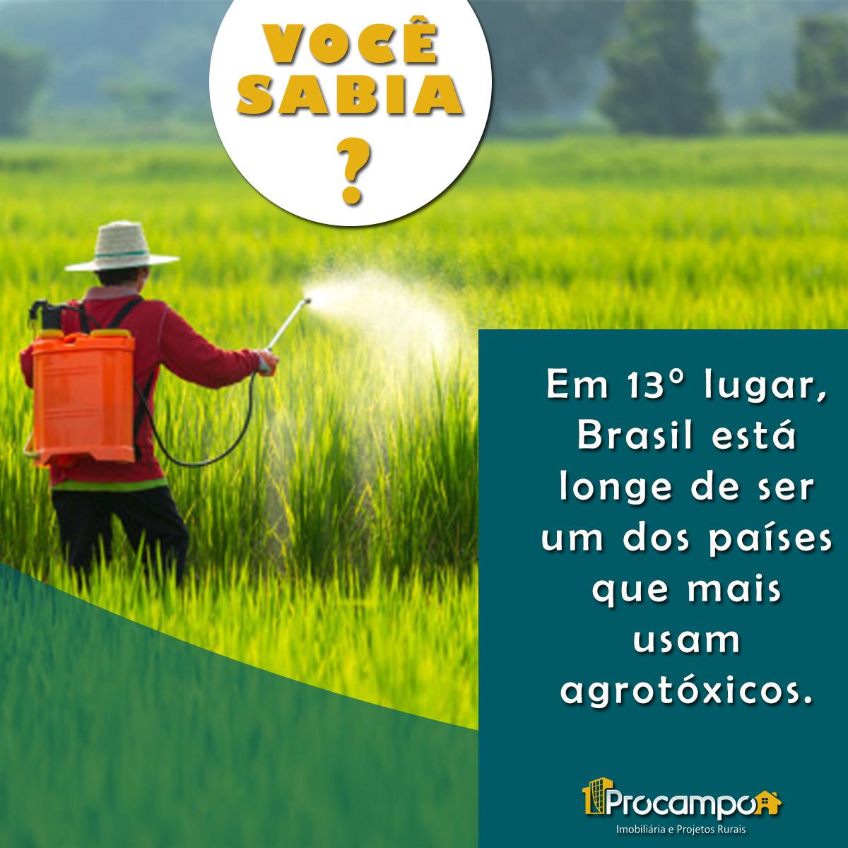 Em 13° lugar, Brasil está longe de ser um dos países que mais usam agrotóxicos.